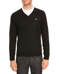 Lacoste Black Vneck Sweater Crocodile On Chest - Lyst