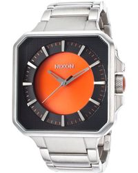 Nixon Mens The Platform Stainless Steel Black and Orange Dial - Lyst