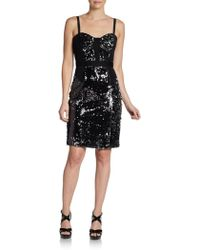 Milly Charise Sequined Combo Dress - Lyst