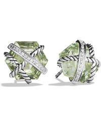 David Yurman Cable Wrap Earrings with Prasiolite and Diamonds - Lyst