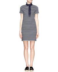 Tory Burch - 'lidia' Ruffle Striped Polo Dress - Lyst