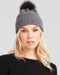 Bettina - Fox Fur Pom-Pom Cashmere Slouchy Hat - Lyst