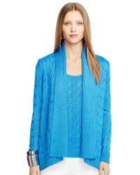 Ralph Lauren Black Label Cable-knit Silk Cardigan - Lyst