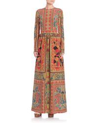 Etro Fern-Print Silk Maxi Gown - Lyst