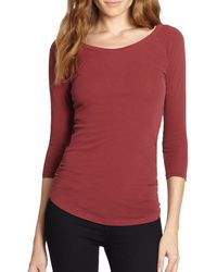 James Perse Skinny Ruched Baseball Top - Lyst