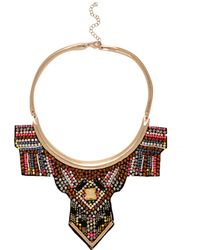 River Island Gold Tone Beaded Tribal Torque Necklace - Lyst