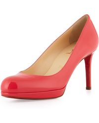 Christian Louboutin New Simple Patent Leather Platform Red Sole Pump Pink - Lyst