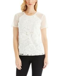 Hugo Boss Isimi | Silk Lined Lace Blouse - Lyst