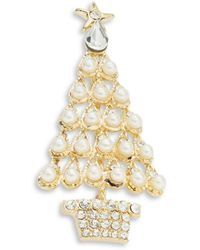 R.j. Graziano - Pearl And Crystal Tree Pin - Lyst