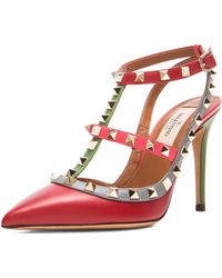 Valentino Rockstud Italian Pop Leather Slingbacks T100 - Lyst