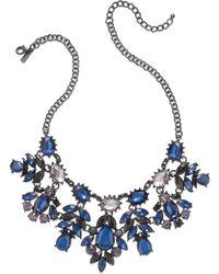 Inc International Concepts Hematite-tone Blue Floral Bib Necklace - Lyst