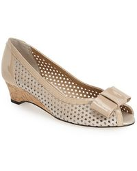 Vaneli 'Birkey' Perforated Bow Wedge beige - Lyst