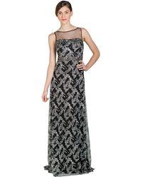 Badgley Mischka Illusion Neckline Beaded Evening Gown - Lyst
