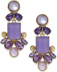 Kate Spade Gold-Tone Purple Stone Chandelier Earrings - Lyst