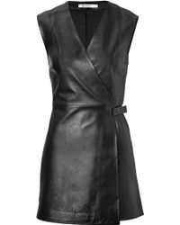 T By Alexander Wang Leather Wrap Dress - Lyst