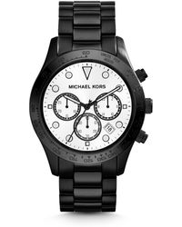 Michael Kors Layton Black Stainless Steel Watch - Lyst