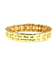 Anne Klein - Gold Tone Linked Stretch Bracelet - Lyst