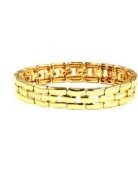 Anne Klein - Gold Tone Linked Stretch Bracelet - Lyst