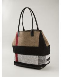 Burberry Check-Detail Wool and Cashmere Tote - Lyst