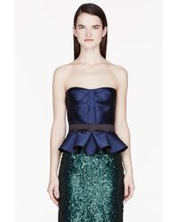 Burberry Prorsum Royal Blue Silk Tailored Bustier - Lyst
