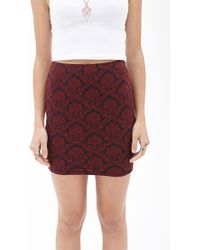 Forever 21 Textured Damask Mini Skirt - Lyst