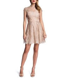 Cynthia Steffe Lace Fit  Flare Dress - Lyst