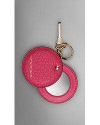 Burberry Mirror Key Charm In Signature Grain Leather - Lyst