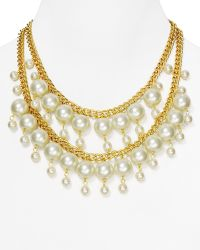 """Kenneth Jay Lane Double Row Faux-Pearl & Chain Necklace, 16-18"""" - Lyst"""