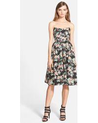 4cbe10946dcd Love Sadie - Floral Print Strapless Midi Dress - Lyst