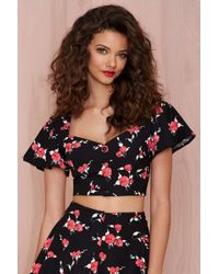 Nasty Gal Bed Of Roses Crop Top - Lyst