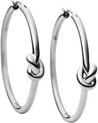 Michael Kors Silver-Tone Knotted Hoop Earrings - Lyst
