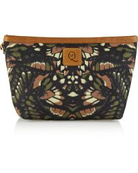 McQ by Alexander McQueen Leathertrimmed Butterflyprint Canvas Cosmetics Case - Lyst