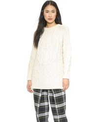 McQ by Alexander McQueen Oversized Cable Knit Sweater  Aran - Lyst