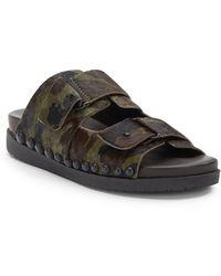 Gentle Souls Skip Rock Camo Calf Hair Flat Sandals - Lyst