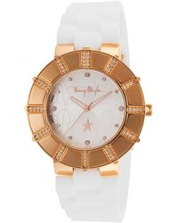Thierry Mugler Womens White Rubber Silver-tone Star Print Desgined Dial - Lyst