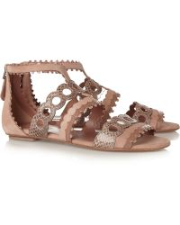 Alaïa Laser-Cut Patent-Leather, Snake And Suede Sandals - Lyst