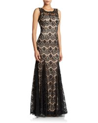 Betsy & Adam Flared Skirt Evening Gown - Lyst