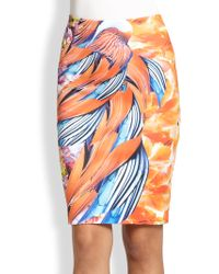 Clover Canyon Feather & Floral Printed Pencil Skirt - Lyst