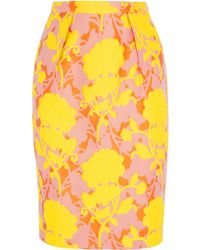Miu Miu Floral Cotton-Blend Cloqué Pencil Skirt - Lyst