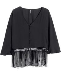 H&M Black Fringed Blouse - Lyst