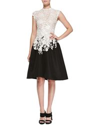 Oscar de la Renta Lace  Faille High-low Dress - Lyst