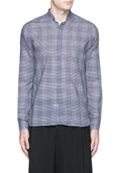 Lanvin | Stand Collar Check Cotton Shirt | Lyst