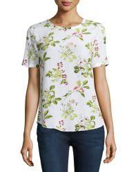 Equipment Riley Floral-Print Short-Sleeve Blouse - Lyst