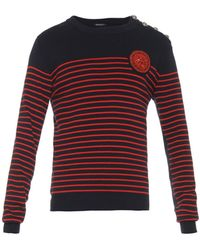 Balmain Crest-Embroidered Sweatshirt - Lyst