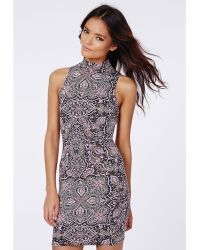 Missguided Andie Roll Neck Bodycon Dress Paisley Print - Lyst