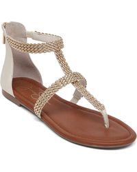 Jessica Simpson Ravenna Synthetic And Metal Thong Sandals - Lyst