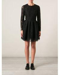 MSGM Lace Flared Dress - Lyst
