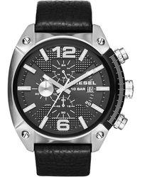 Diesel Men'S Chronograph Overflow Black Leather Strap Watch 49Mm Dz4341 black - Lyst