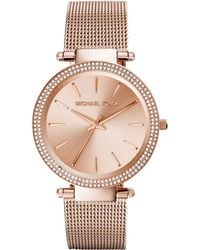 Michael Kors Womens Darci Rose Gold-tone Stainless Steel Mesh Bracelet Watch 39mm - Lyst