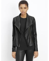 Vince | Feather Leather Scuba Jacket | Lyst